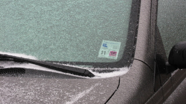 sleet accumulation on car